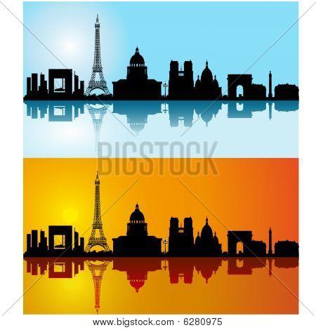 Black vector Paris silhouette skyline on day