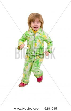 Running Child. Isolated On White Background.