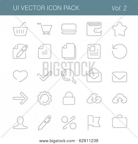User interface vector icon line art design pack. Lineart creative icons set. Flat trendy web buttons.