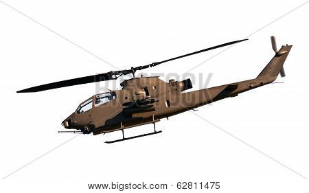 Attack Helicopter Side View Isolated