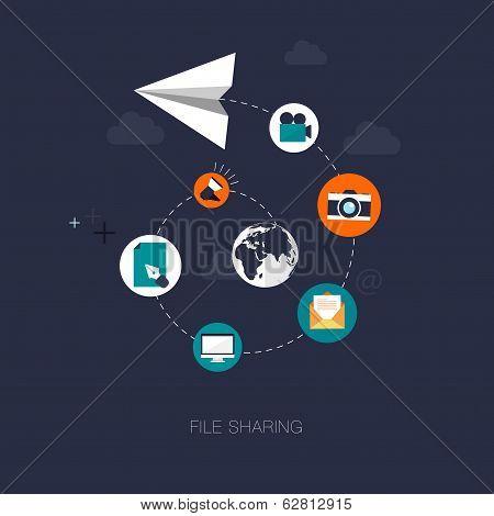 vector modern file sharing concept illustration