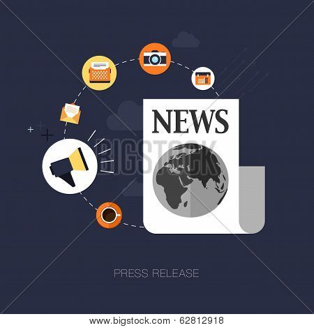 vector modern press release concept illustration