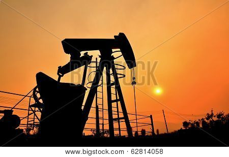 Pumpjack Pumping Crude Oil From Oil Well