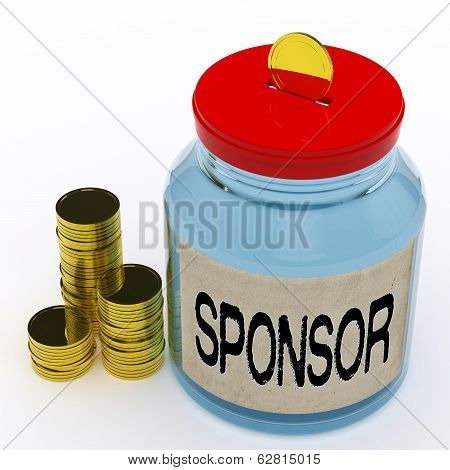 Sponsor Jar Means Donating Helping And Aid