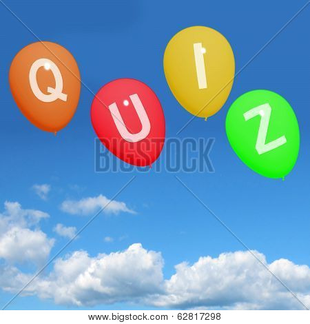 Quiz Balloons Show Quizzing Asking And Testing