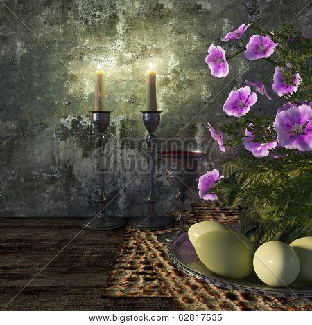 Jewish celebrate pesach passover with eggs, matzo and flowers holiday background