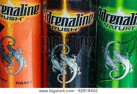 Various Energy Drinks Adrenaline Rush