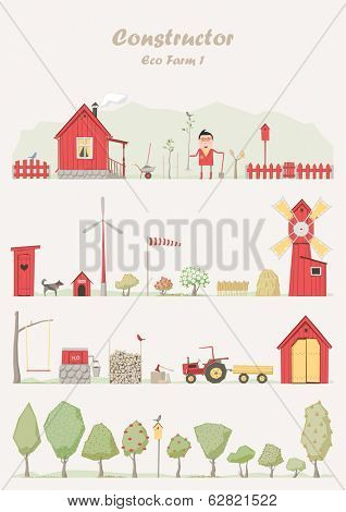 Vector constructor - eco farm ( ecological set )