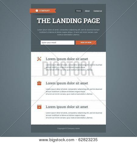 Landing page in flat style.