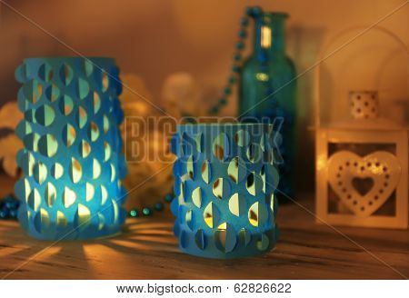 Home decor, candle lights on table