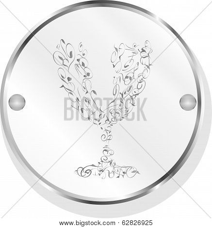 Champagne Cup Icon On Internet Button Isolated On White
