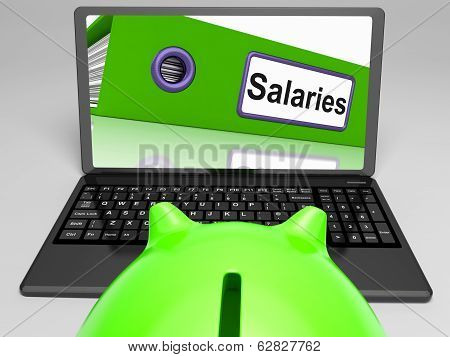 Salaries Laptop Means Payroll And Income On Internet