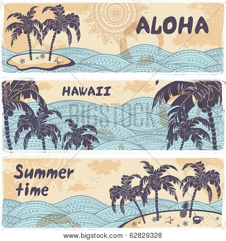 Vintage banners of the islands in the ocean