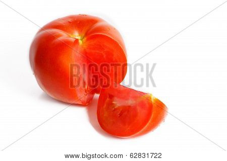 Sliced Tomatoes On A White Background