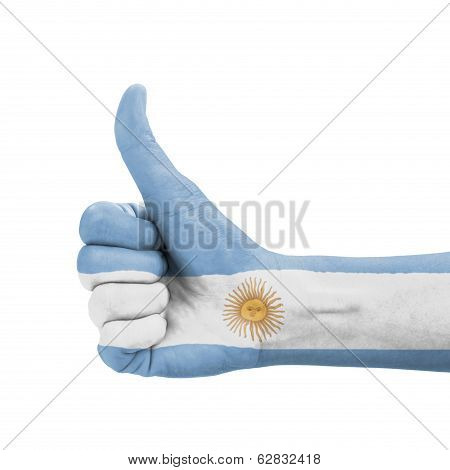 Hand With Thumb Up, Argentina Flag Painted As Symbol Of Excellence, Achievement, Good - Isolated On