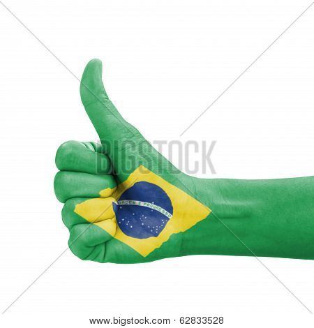 Hand With Thumb Up, Brazil Flag Painted As Symbol Of Excellence, Achievement, Good - Isolated On Whi