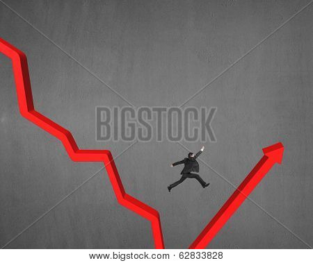 Jumping Over Gap On Red Arrow