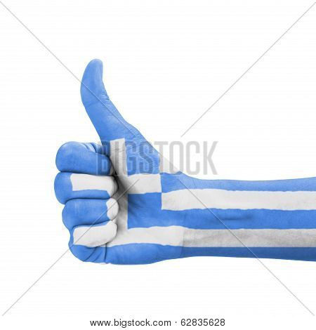 Hand With Thumb Up, Greece Flag Painted As Symbol Of Excellence, Achievement, Good - Isolated On Whi