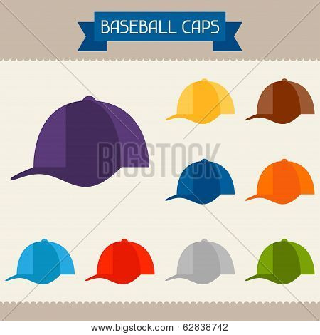 Baseball caps colored templates for your design in flat style.