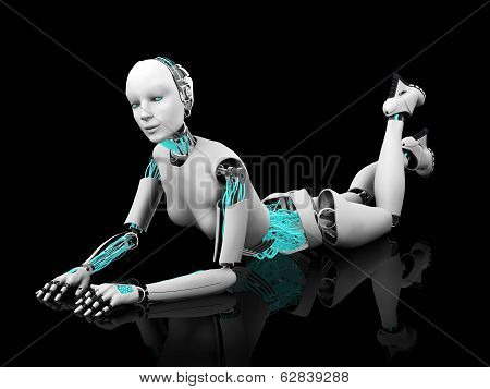 Sexy Robot Woman Posing On The Floor Nr 2.