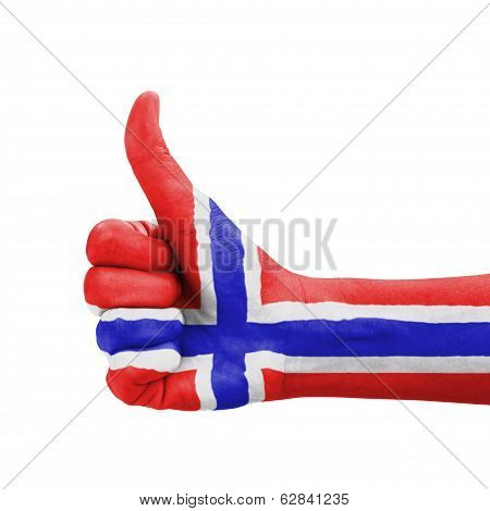 Hand With Thumb Up, Norway Flag Painted As Symbol Of Excellence, Achievement, Good - Isolated On Whi
