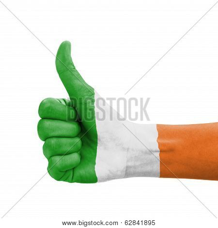 Hand With Thumb Up, Republic Of Ireland Flag Painted As Symbol Of Excellence, Achievement, Good - Is