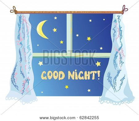 Good nignt illustration with cute window stars