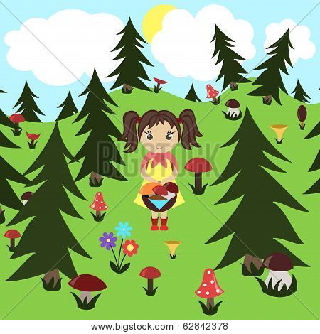Girl gathers mushrooms in the wood. Vector illustration