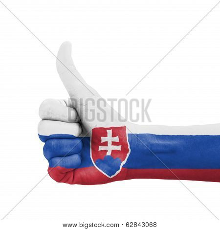 Hand With Thumb Up, Slovakia Flag Painted As Symbol Of Excellence, Achievement, Good - Isolated On W