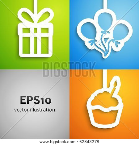 Happy birthday colorful applique icon background set