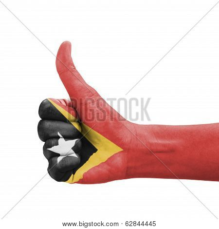 Hand With Thumb Up, Timor-leste Flag Painted As Symbol Of Excellence, Achievement, Good - Isolated O