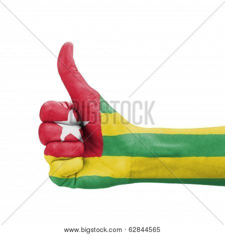 Hand With Thumb Up, Togo Flag Painted As Symbol Of Excellence, Achievement, Good - Isolated On White