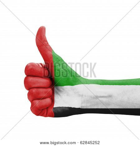 Hand With Thumb Up, Uae (united Arab Emirates) Flag Painted As Symbol Of Excellence, Achievement, Go