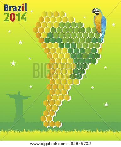 Brazil Concept - With Macaw And Map Of  Latin America