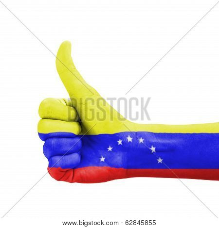 Hand With Thumb Up, Venezuela Flag Painted As Symbol Of Excellence, Achievement, Good - Isolated On