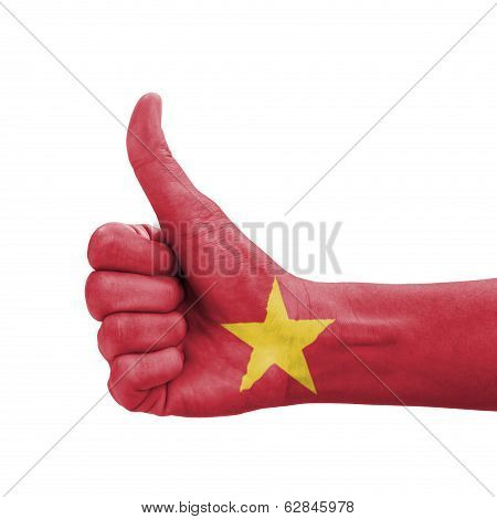 Hand With Thumb Up, Vietnam Flag Painted As Symbol Of Excellence, Achievement, Good - Isolated On Wh