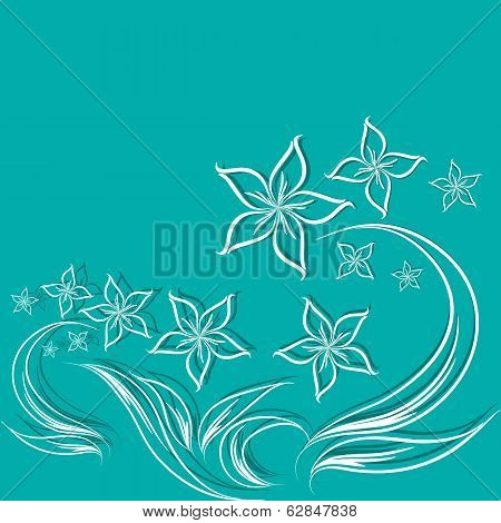 vector blue background with flowers
