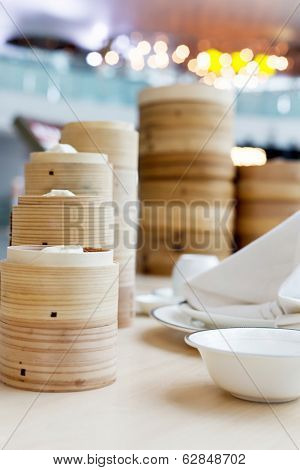 steamed Chinese bun in bamboo basket