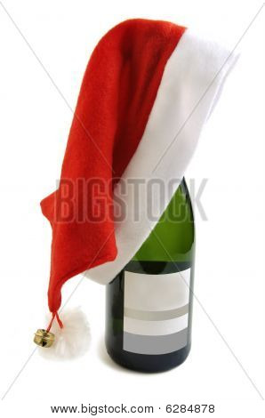 Bottle Of Champagne In Santa Hat.