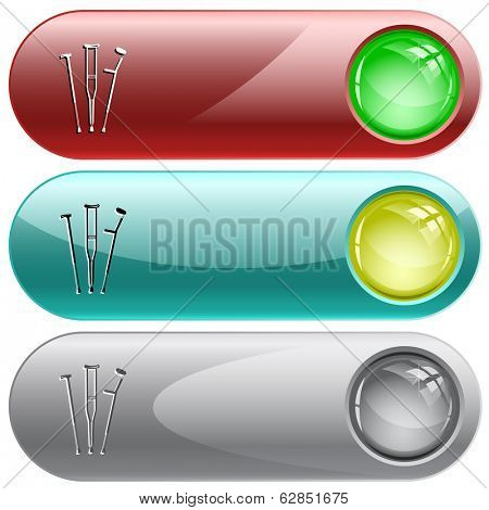 Crutches. Internet buttons. Raster illustration.