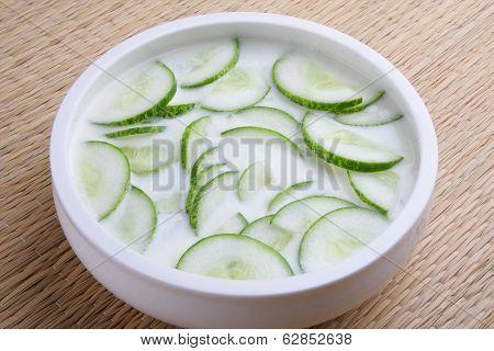 Creamy yogurt sauce with cucumber,