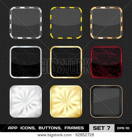Transparent App Icon Frames, Backgrounds. Set 7