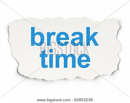 Time concept: Break Time on Paper background