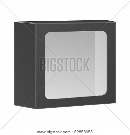 Blank Black Product Package Box With Window