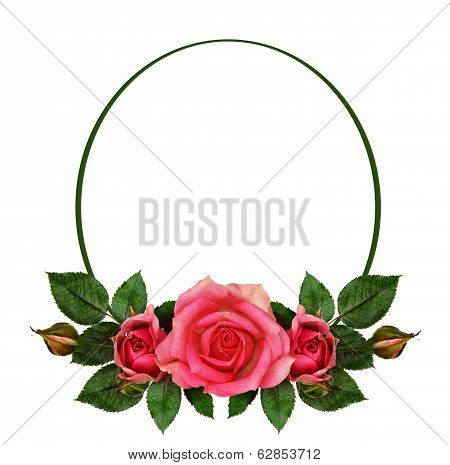 Rose Flowers Composition And Oval Frame