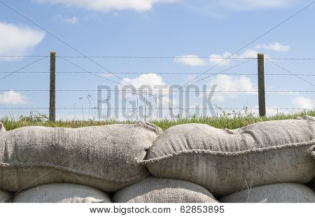 Sandbags And Barbed Wire World War 1 Flanders Belgium