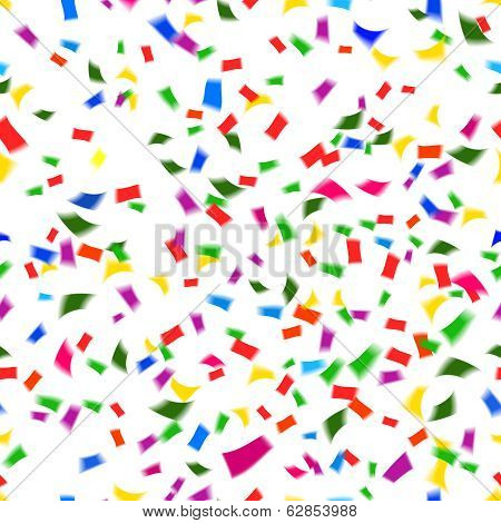 Vibrant seamless pattern of falling confetti
