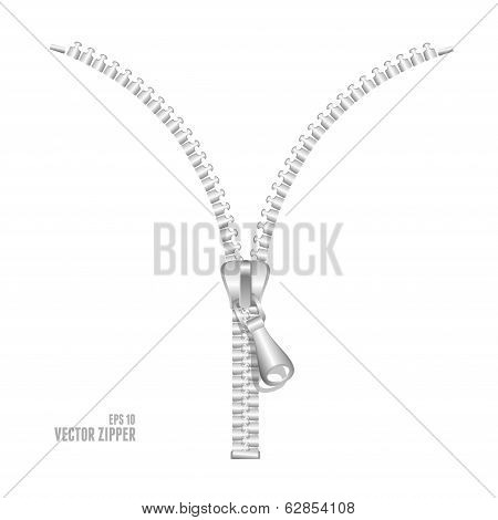 Vector realistic metall zipper illustration