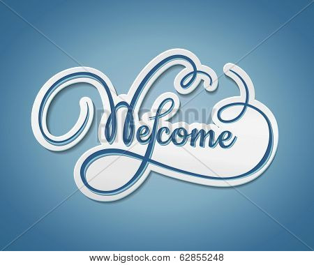 Welcome sticker with swirling text