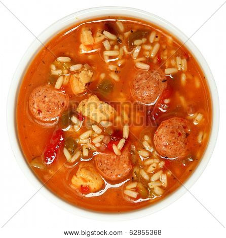 Bowl of Cajun Spicy Chicken and Sausage Gumbo Soup Over White